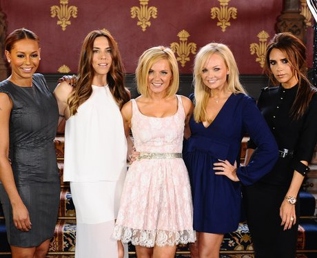 The Spice Girls smiling as they launch reunion shows
