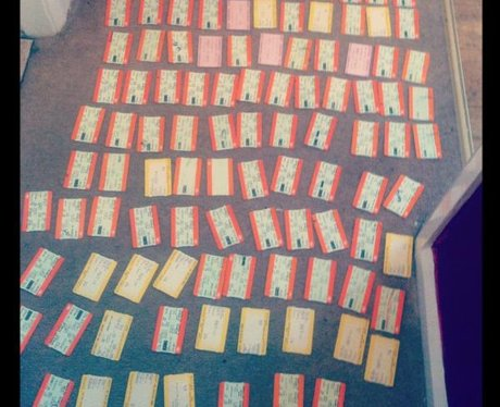 One JLS fan shows all of their tickets to see the band