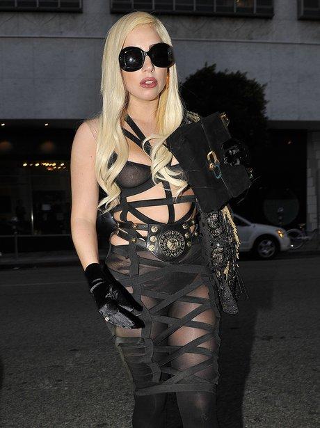 Lady Gaga in a Bondage Dress