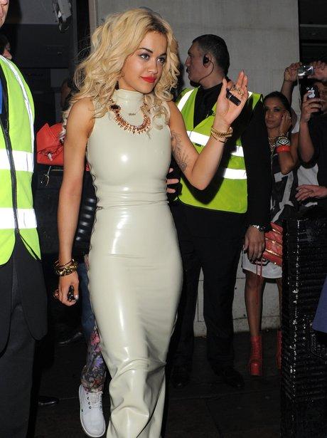 Rita Ora Wears PVC Dress