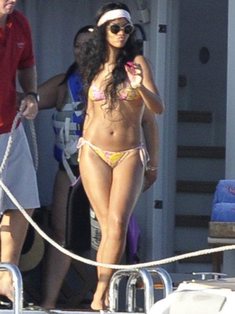 Rihanna in a bikini on holiday.