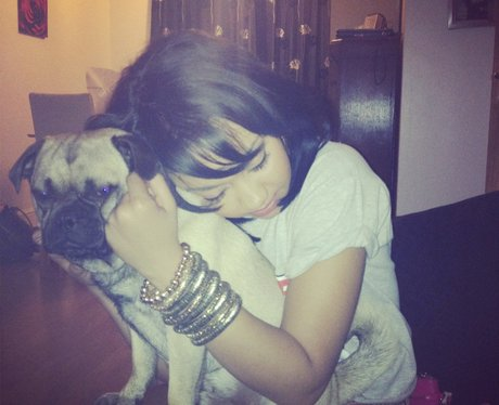 Leigh Anne hugging her dog Maurice