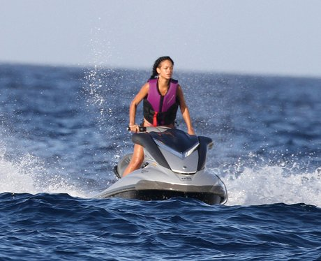 Rihanna on a jet ski during her holiday