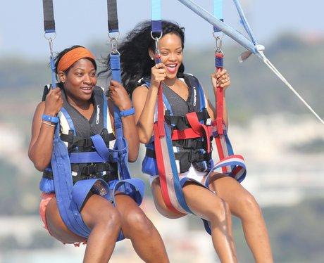 Rihanna parasailing on holiday