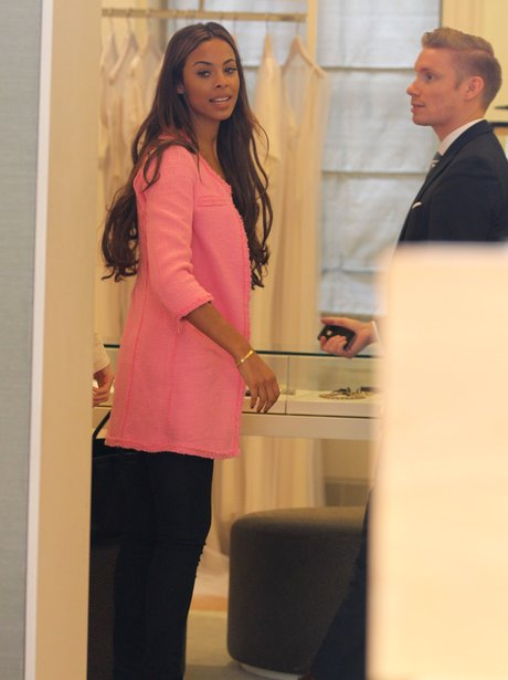Rochelle Wiseman at bridal shop in London