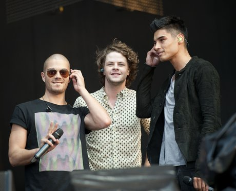 The Wanted perform to celebrate the Olympic Torch's arrival.