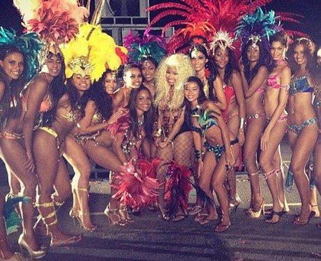 Nicki Minaj poses with her backing dancers