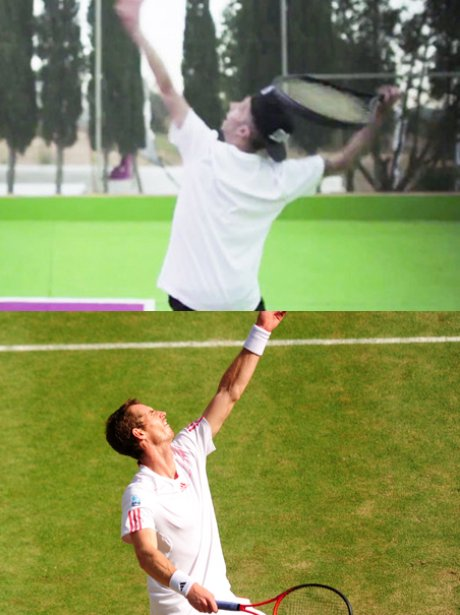 Andy Murray and Dappy playing tennis.