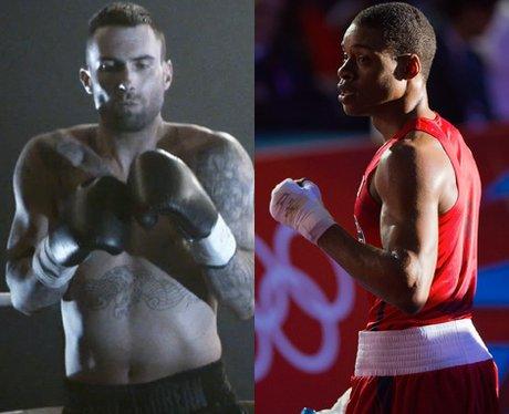 Adam Levine and Errol Spence boxing.