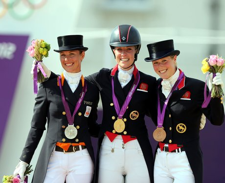 Charlotte Dujardin celebrates her gold medal