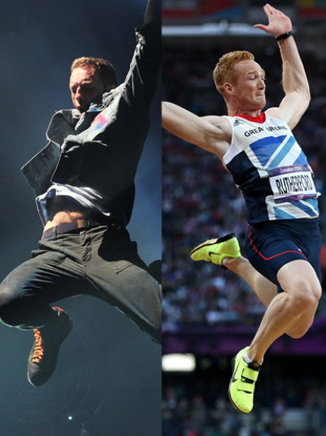 Chris Martin and Greg Rutherford jumping.
