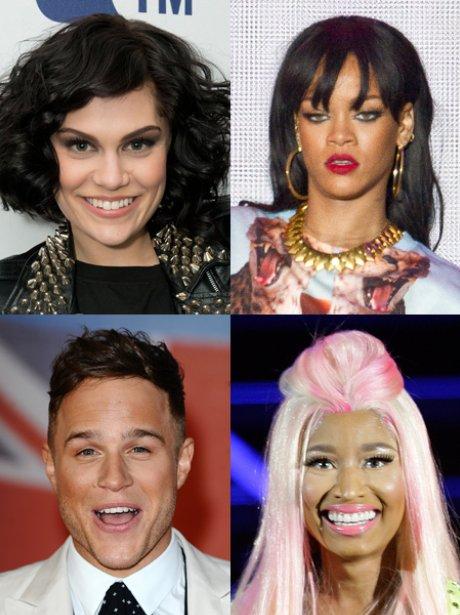 Jessie j, Rihanna, Nicki Minaj and Olly Murs