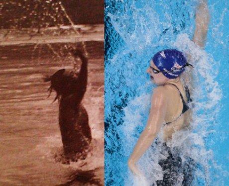 Harry Styles and Rebecca Adlington swimming.