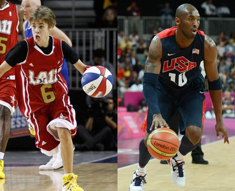 Justin Bieber and Kobe Bryant playing basketball.