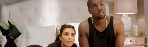 Kanye West and Kim Kardashian on bed