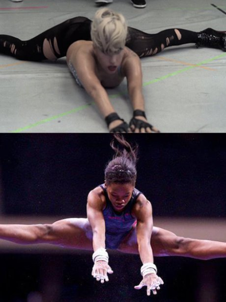 Lady Gaga and Gabby Douglas doing gymnastics.