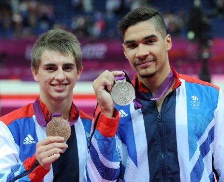 Max Whitlock & Louis Smith with their bronze and silver medals