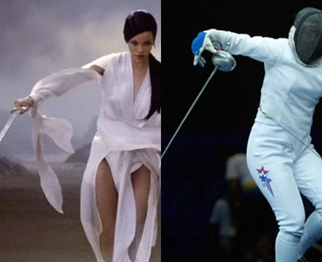 Rihanna and Courtney Hurley fencing.