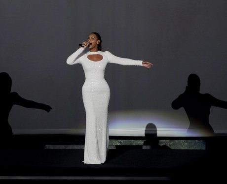 Beyonce performs 'I Was Here' live on stage.