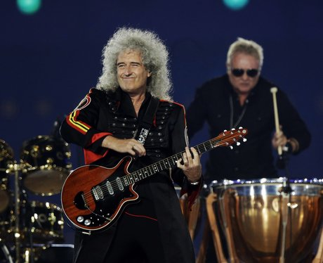 Brian May performs at the Olympics closing ceremony.