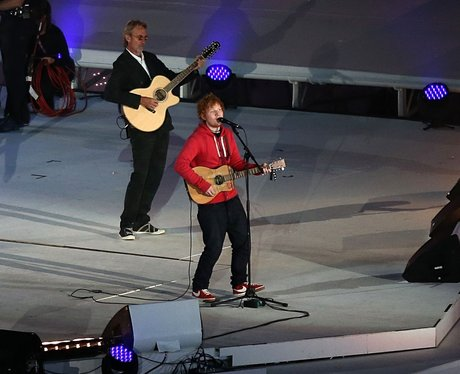 Ed Sheeran performs at the Olympic Closing Ceremony