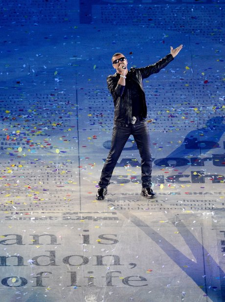 George Michael performs at the Olympic closing ceremony.