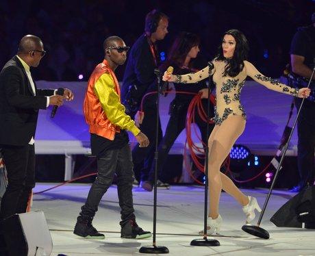Jessie J, Taio Cruz and Tinie Tempah on stage.