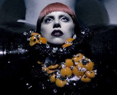 Lady Gaga covered in egg yolks