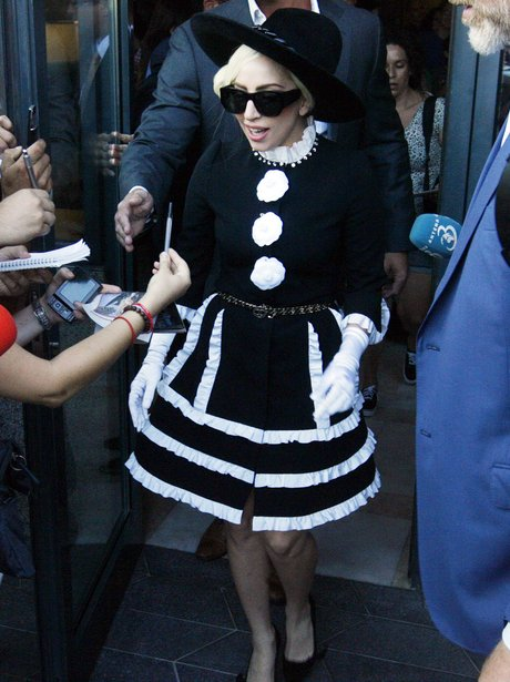 Lady Gaga wears a monochrome outfit in Romania.