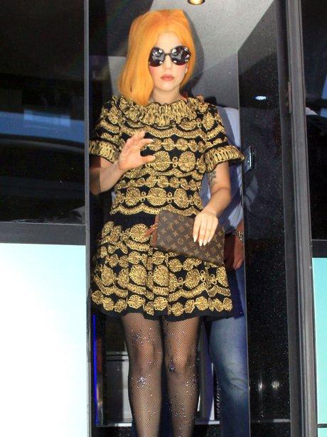 Lady Gaga with orange hair in Bucharest.