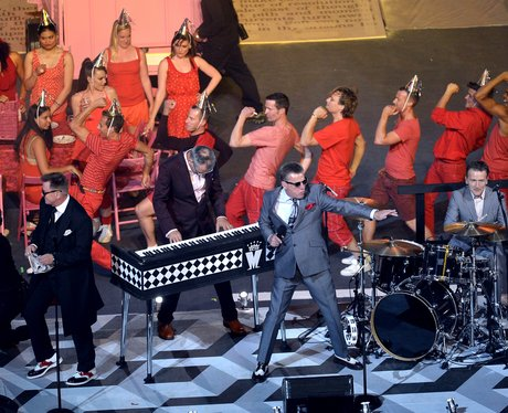 Madness perform at the Olympic closing ceremony.