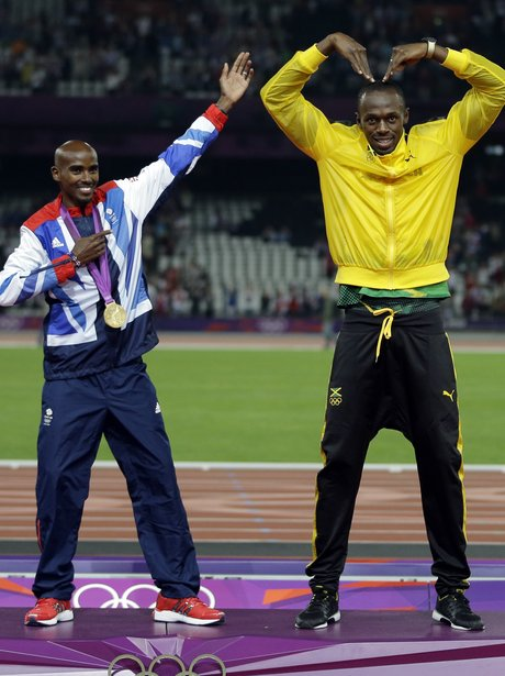 Mo Farah and Usain Bolt doing mobot