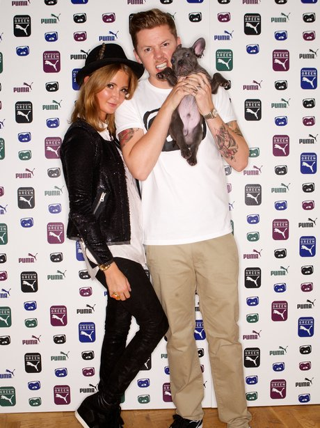 Professor Green with Millie Mackintosh and her dog.