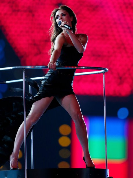 Victoria Beckham performs at the Olympics closing ceremony.