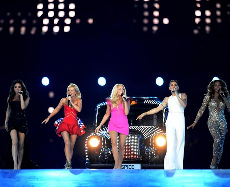 Spice Girls perform at the Olympics closing ceremony.