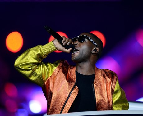 Tinie Tempah performs at the Olympics closing ceremony.