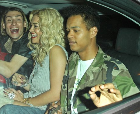 Rita Ora and Harley from Rizzle Kicks in a taxi