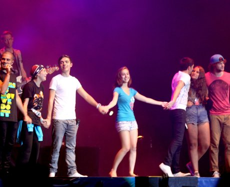 The Wanted with fans on stage