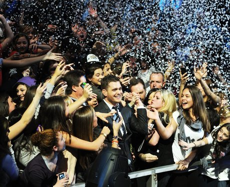 Michael Buble celebrates with fans