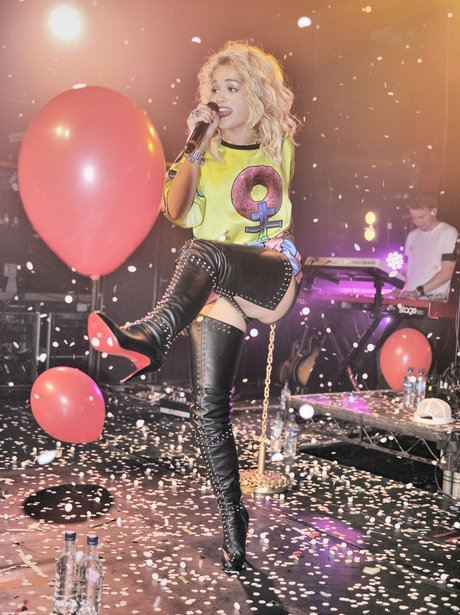 Rita Ora performs live on stage at G.A.Y club.