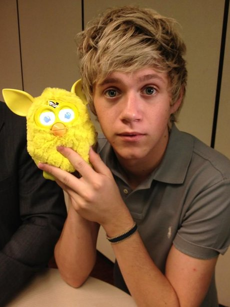 Niall Horan with a Furby Toy.