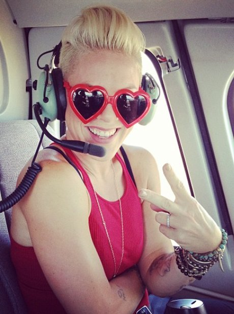 Pink in a helicopter ahead of VMAs 2012.