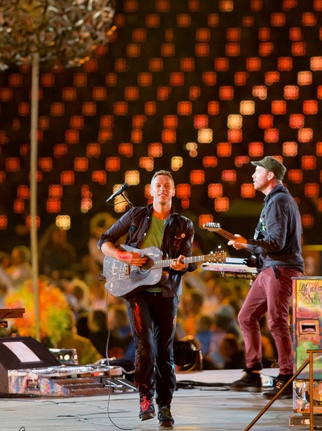Coldplay perform at the Paralympics closing ceremony.