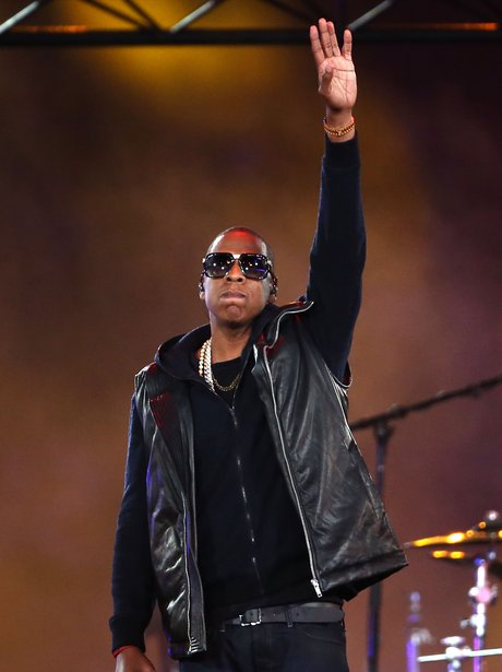 Jay-Z salutes the crowd at the Olympic Stadium.