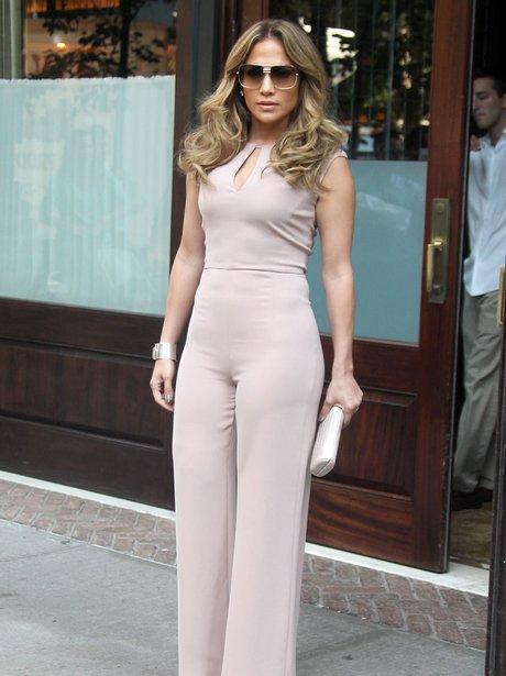 Jennifer Lopez wearing a jumpsuit in NYC.
