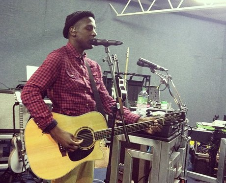 Labrinth rehearsing with acoustic guitar