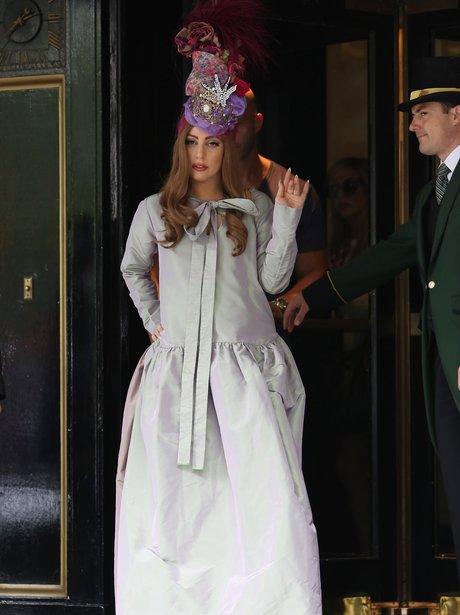Lady Gaga wearing head dress in London.