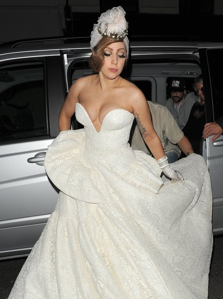 Lady Gaga Wearing A Revealing Wedding Dress