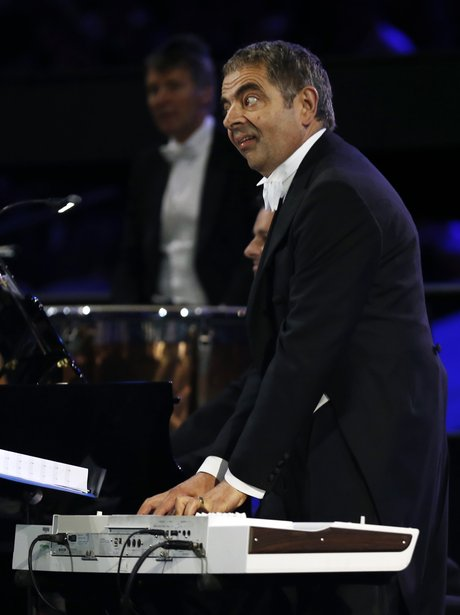 Mr Bean plays at the Olympic Games opening ceremony.