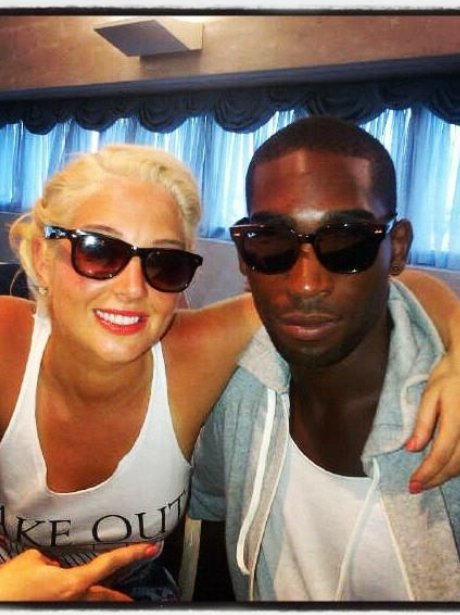 Tulisa and Tinie Tempah wearing sunglasses